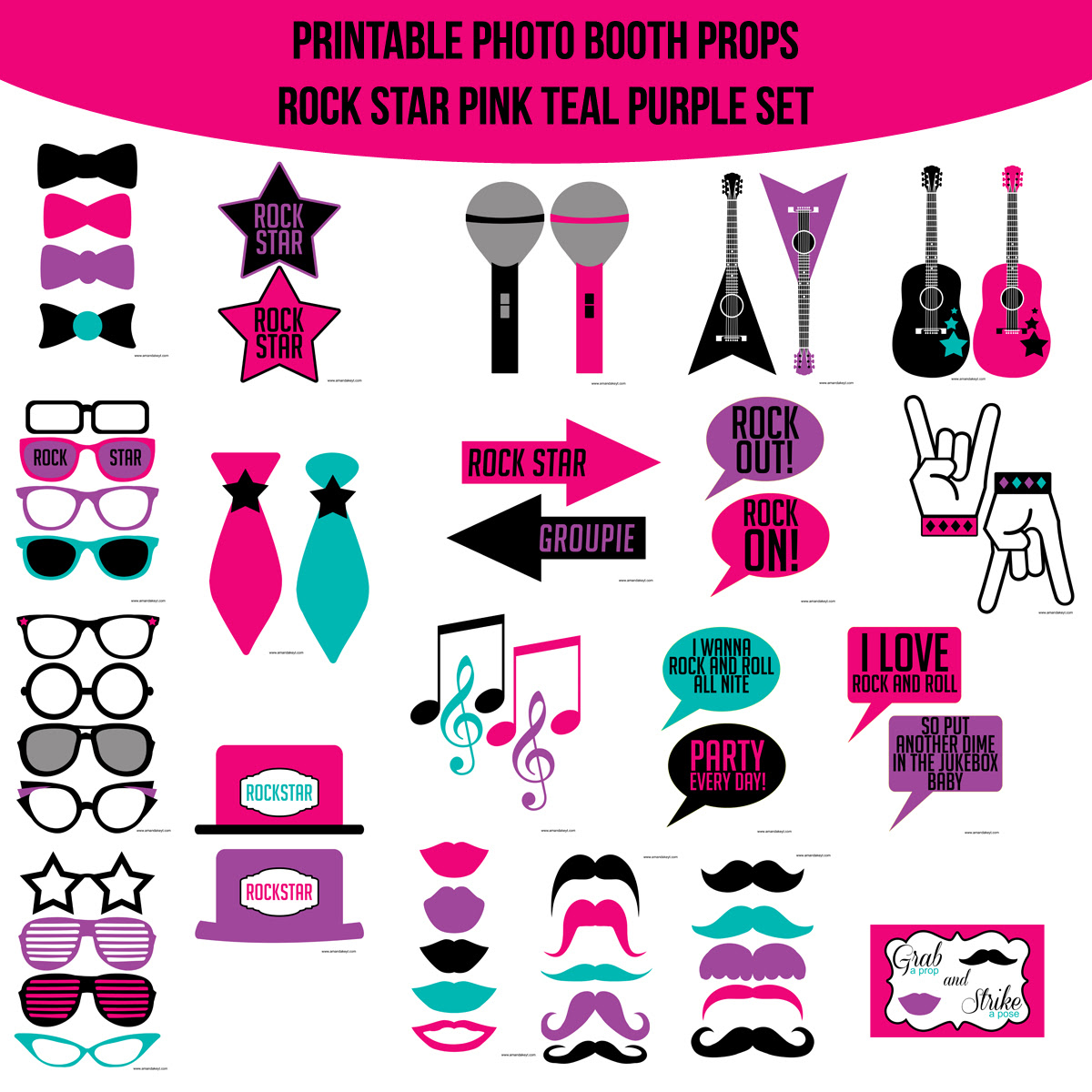 Instant Download Rock Star Pink Teal Purple Printable Photo Booth