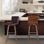 Armen Living LCVIBABRWA26 Vienna 26 in. Counter Height Barstool in Walnut Wood with Brown Faux Leather