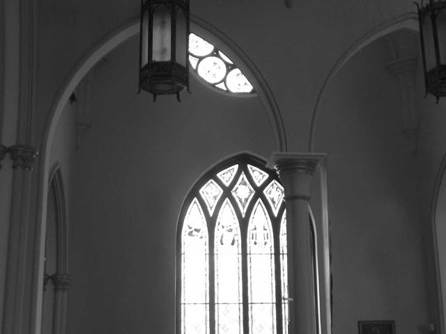 P1080247-2011-03-06-Shrine-of-Immaculate-Conception-Transept-Stained-Glass-BW