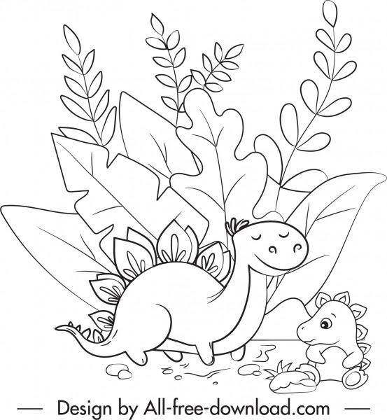 Dinosaurus Menggambar Sketsa Kartun Lucu Hitam Putih Digambar Kartun Vektor Vektor Gratis Download Gratis