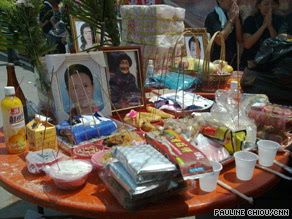 CNN photo: Food offerings are presented in Jia Shian for the dead in the afterlife.