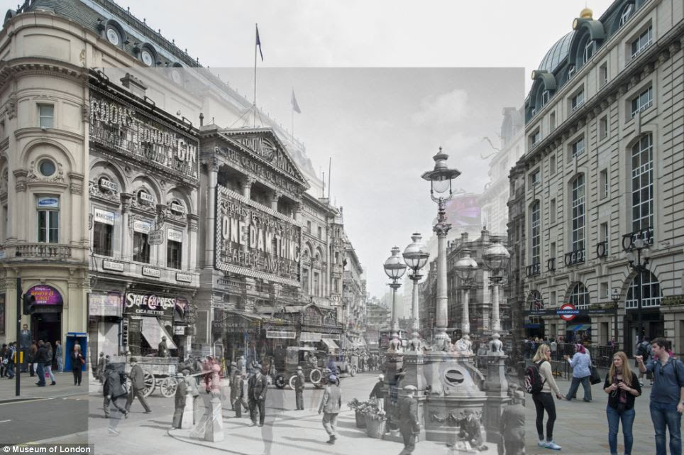 Piccadilly Circus in 1927 juxtaposed with how it looks today. The image is part of a stunning series of pictures from the Museum of London's collection which give a unique glimpse into the city's past