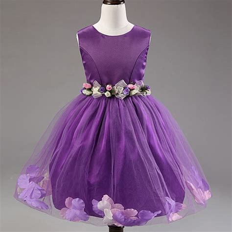 Purple Mix Pageant Flower Girls Princess Dress Kids Party