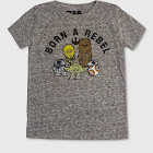 petiteToddler Boys' Star Wars Born A Rebel Short Sleeve T-Shirt - Gray 5T, Boy's
