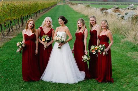 Amsale bridesmaids in Cranberry   Photography by Ashley O