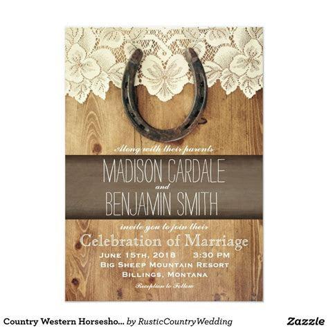 Country Western Horseshoe Lace Wedding Invitations