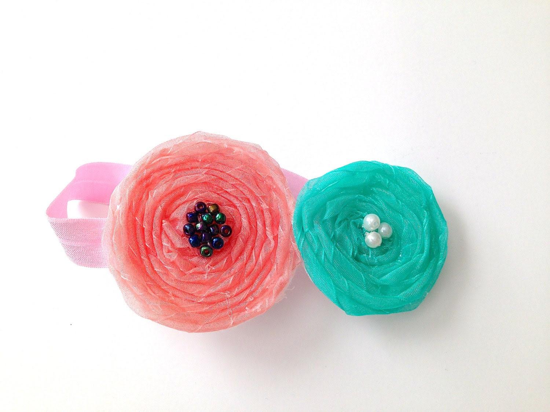 Baby headband with organza ribbon flowers - TinyLoveGifts