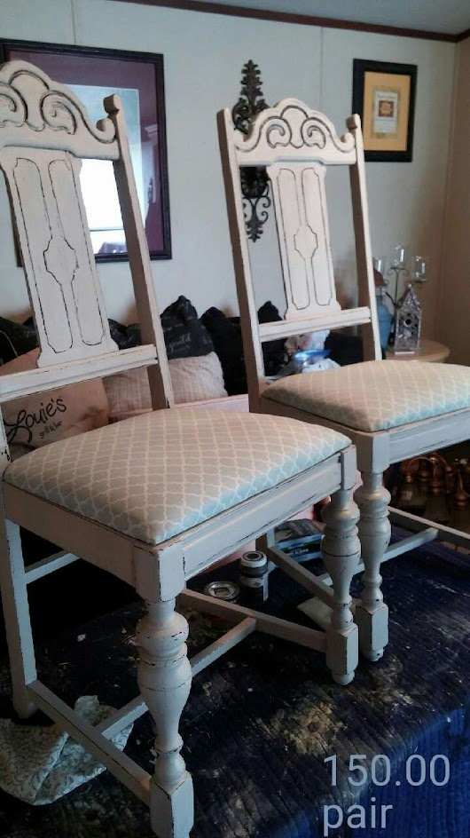 2 Shabby Chic Off White Chairs Upholstered