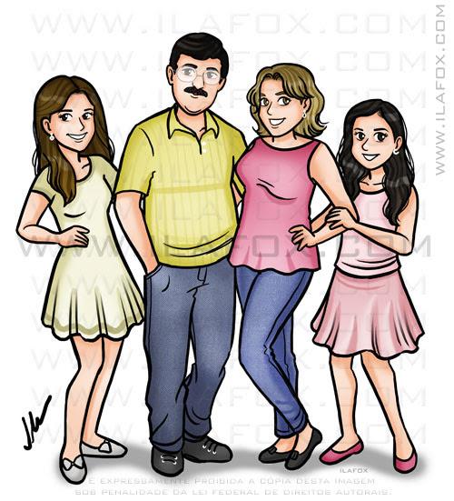 Caricatura desenho, desenho de família, desenho de família personalizado, by ila fox
