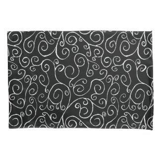 White Scrolling Curves on Black Pillowcase