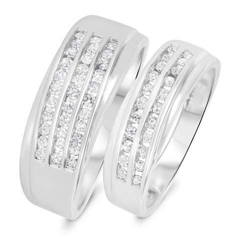 3/4 CT. T.W. Diamond His And Hers Wedding Band Set 10K