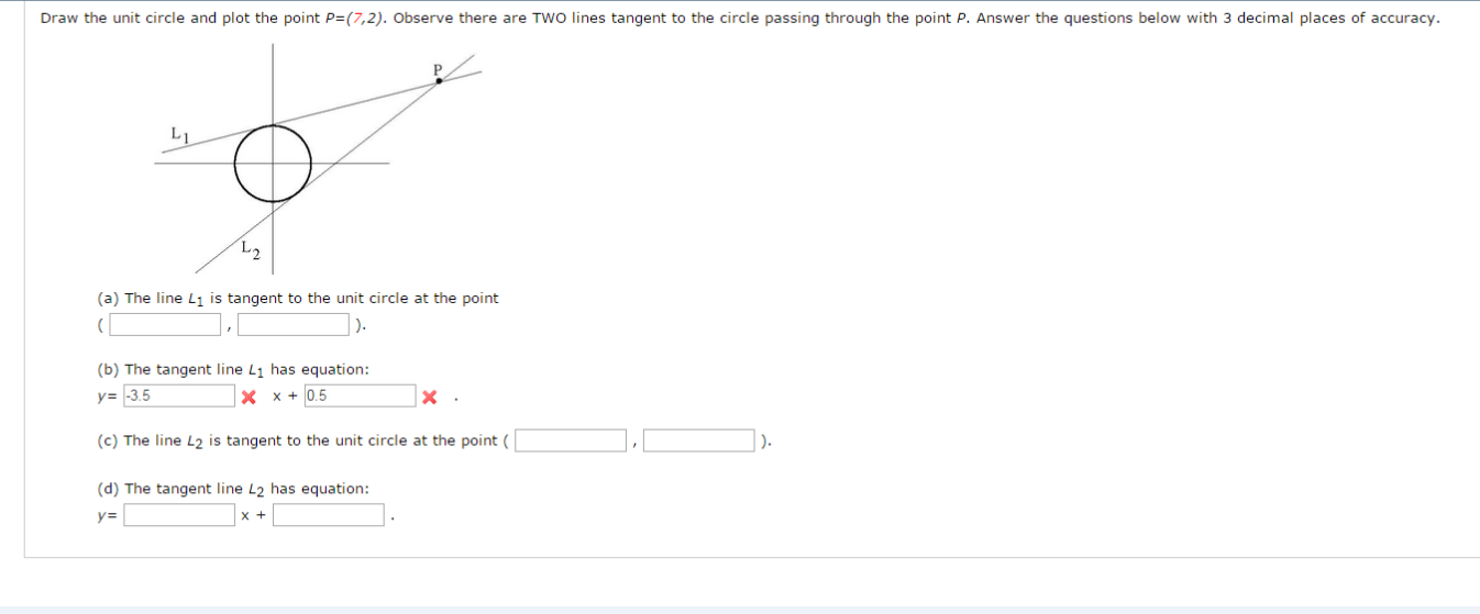 Draw The Unit Circle And Plot The Point P=(7,2). O...   Chegg.com