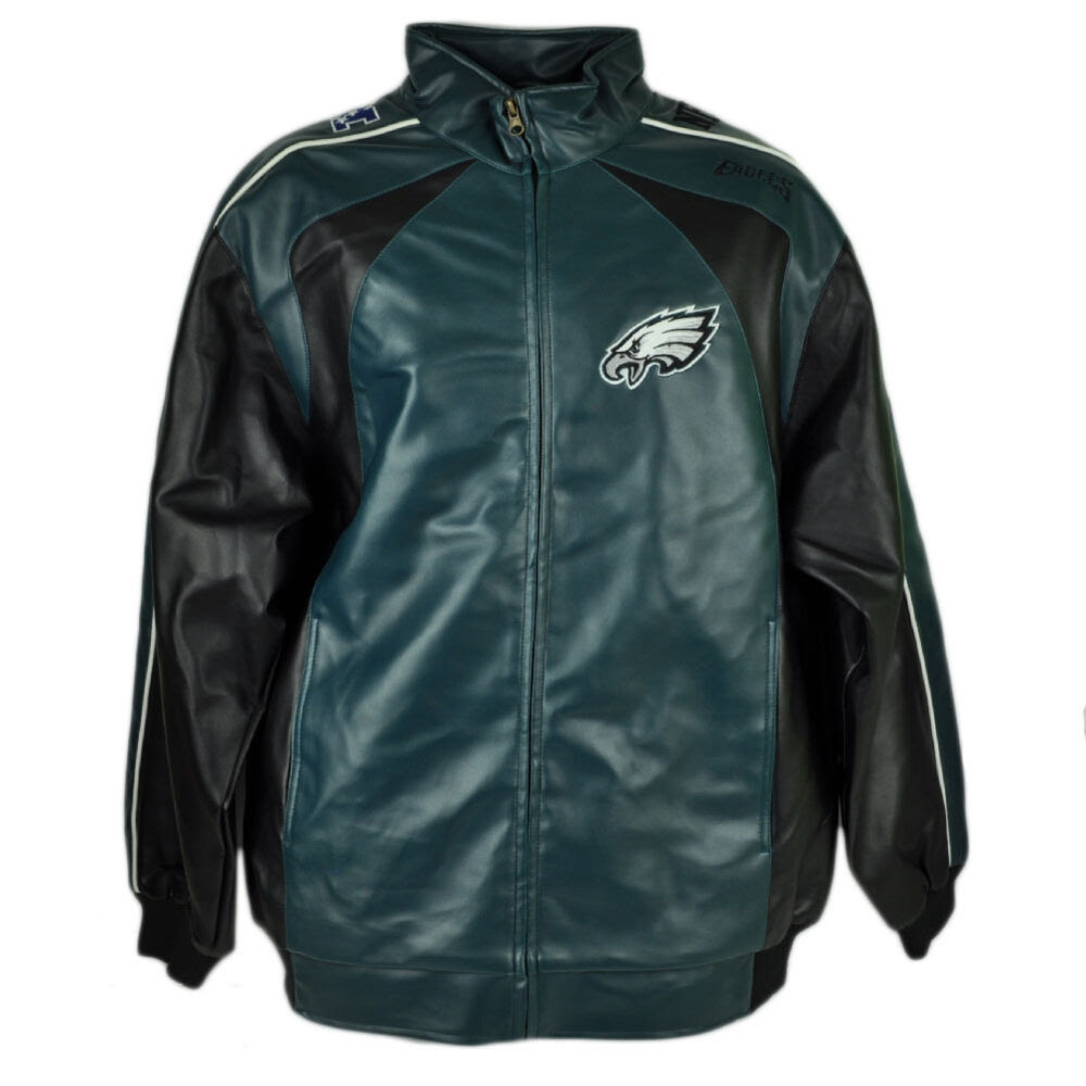 NFL Philadelphia Eagles Jacket Pleather Zipper Mens Football Winter Sport Medium  eBay