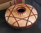 Wood Bowl Segmented Woodturning - Maple, Walnut and Bloodwood - BarrettWoodShop