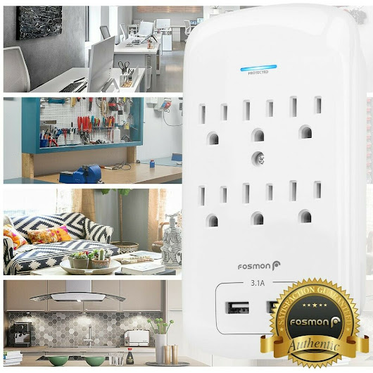 Details about 6 Outlet Surge Protector With 2 USB Ports Wall Charger Adapter Tap [ETL listed]