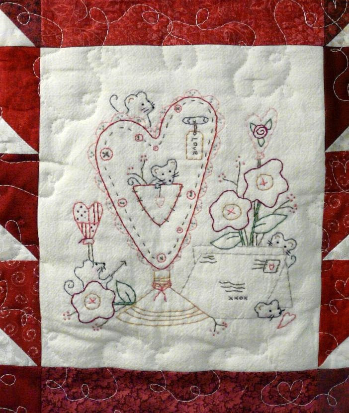 new Lil Mouse VALENTINE holder E pattern - email Pdf primitive stitchery cupid heart quilt wallhanging posies flowers embroidery