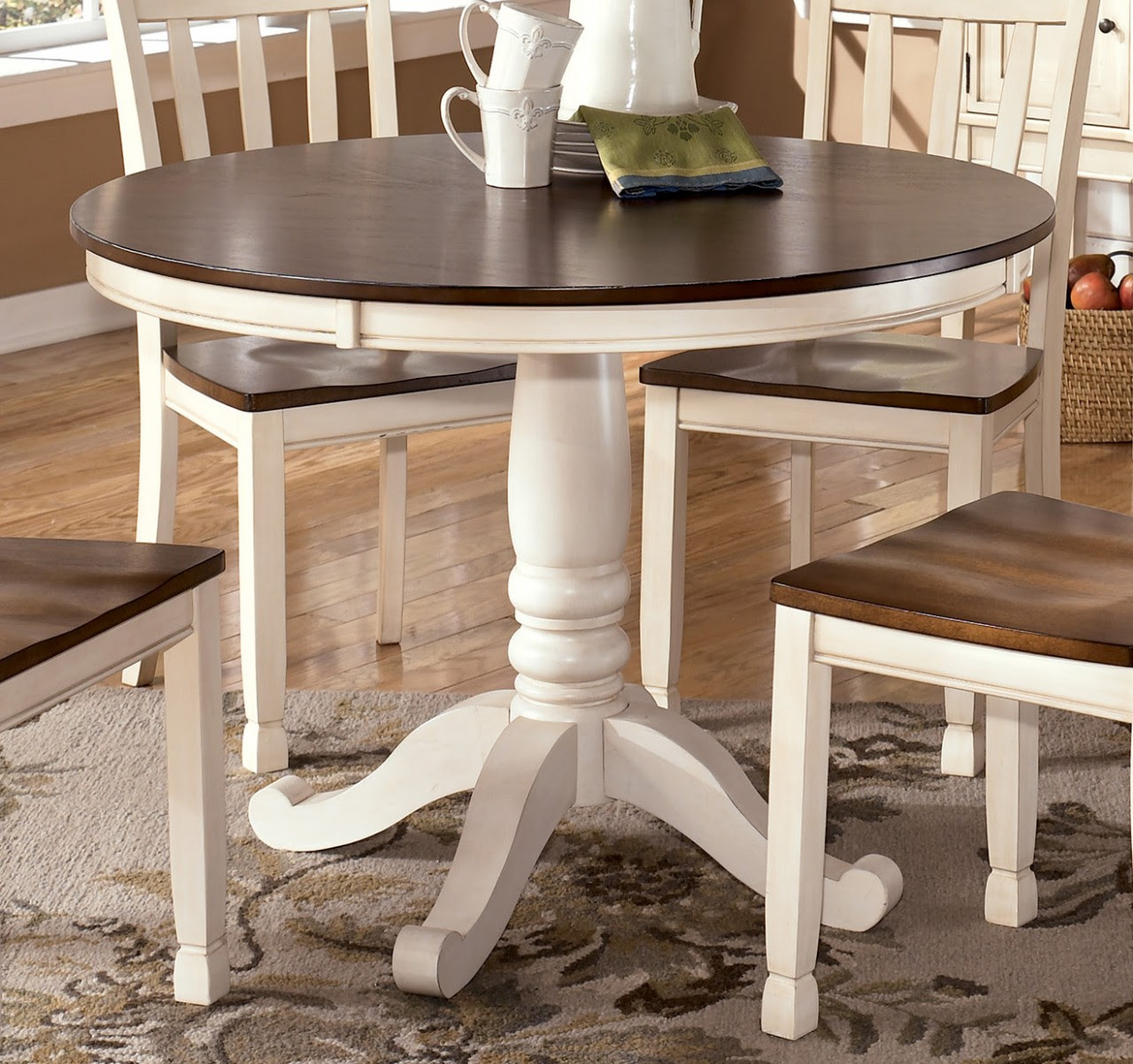 Whitesburg Round Dining Table in Brown - White by Dining Rooms Outlet