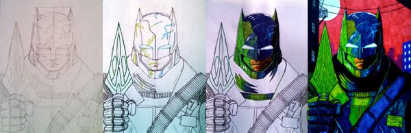 My drawing, plus work-in-progress photos of it, of Armored Batman from BATMAN V SUPERMAN: DAWN OF JUSTICE.