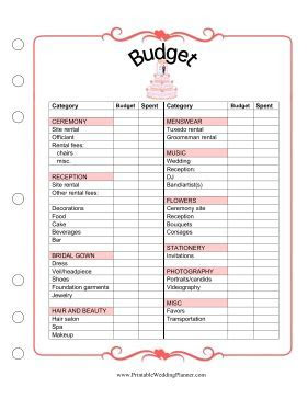 free printable wedding budget   then we know how much we