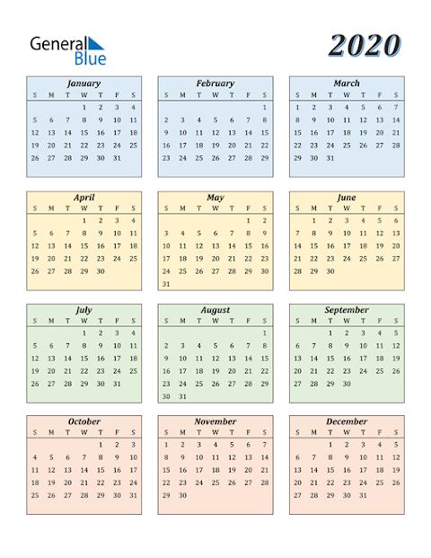 Annual Calendar 2020 Excel