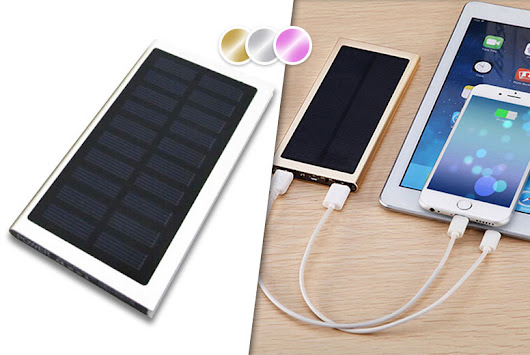 £9.99 instead of £39.99 (from EFMall) for a 9000mAh dual port solar power bank - choose from three colours and save 75%