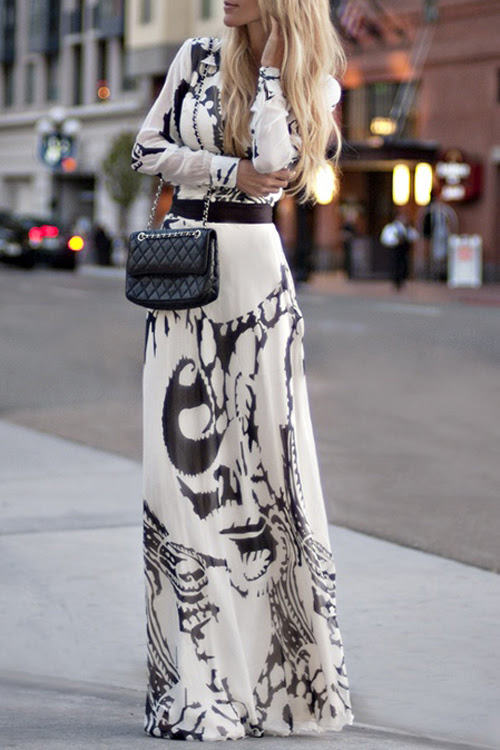 كم طويل الشيفون فستان ماكسي