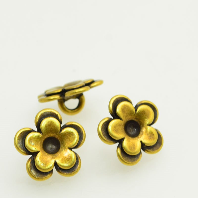 s47852 Metal Buttons -  Cup Flower - Antiqued Brass