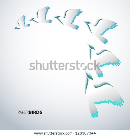 Greeting card with paper birds - vector - stock vector