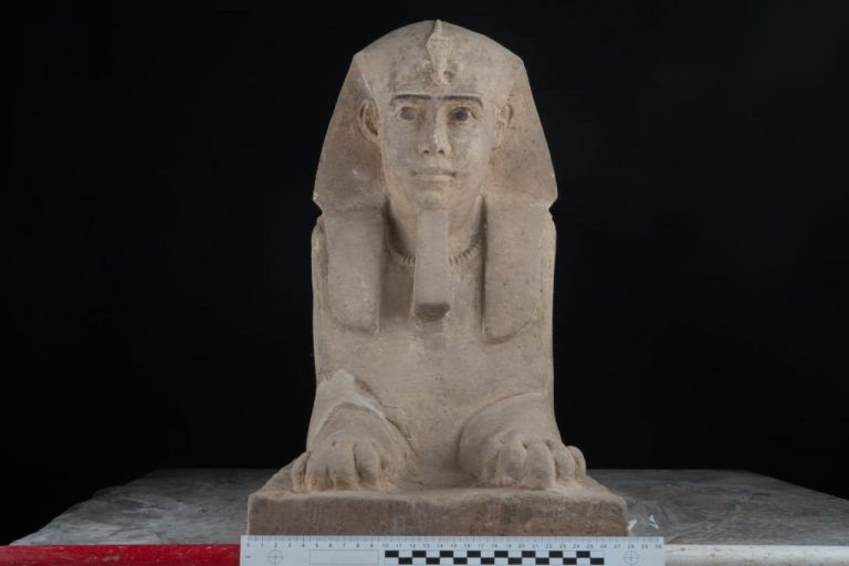 A large human-headed sphinx was found in restoration work            at Kom Ombo (photo: Ministry of Antiquities)