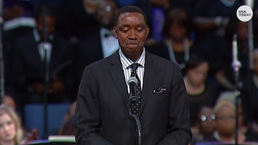 Isiah Thomas holds back tears speaking at Aretha Franklin's funeral