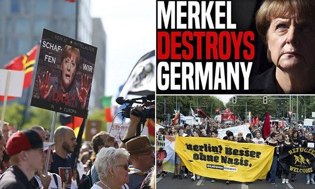 German protesters prepare for Angela 'Merkel Must Go' demonstration