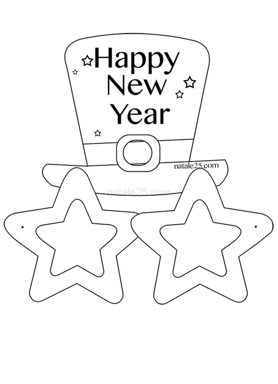 Occhiali Di Carta Happy New Year Da Colorare Natale 25