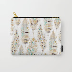 """Carry All Pouch   Boho Festival Feather by Evamatise - Small (6"""" x 5"""") - Society6"""