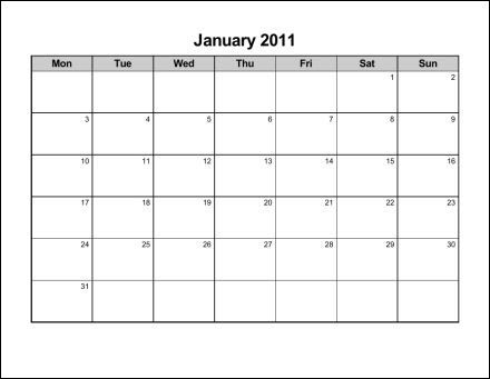2011 calendar pages. Print 2011 Calendar : Twelve Pages (Monthly)