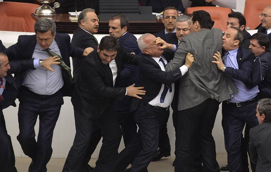 Turkish Politicians brawl