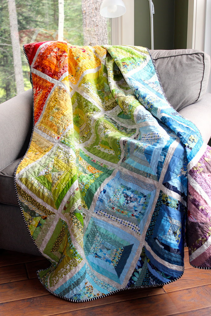 Rainbow Scrappy String Quilt