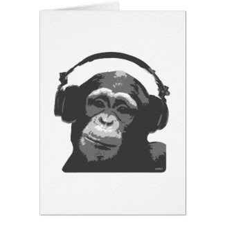 DJ MONKEY GREETING CARD