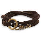 Wildfire Fashion Mens Brown Suede Double Wrap Bracelet with Brass Ring 26-inch Length