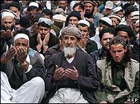 Afghans attending Friday prayers in Kabul