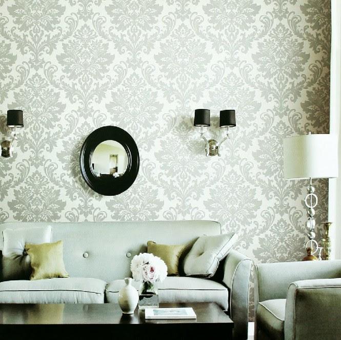 white gray fleur de lis wallpaper living room