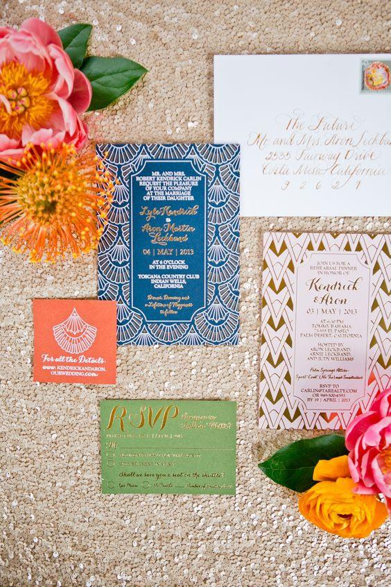 eine glam-art-deco Hochzeit Einladung-suite, in blau, grün und rot mit Kalligraphie