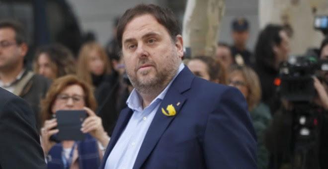Oriol Junqueras, a su llegada a la Audiencia Nacional. / EFE