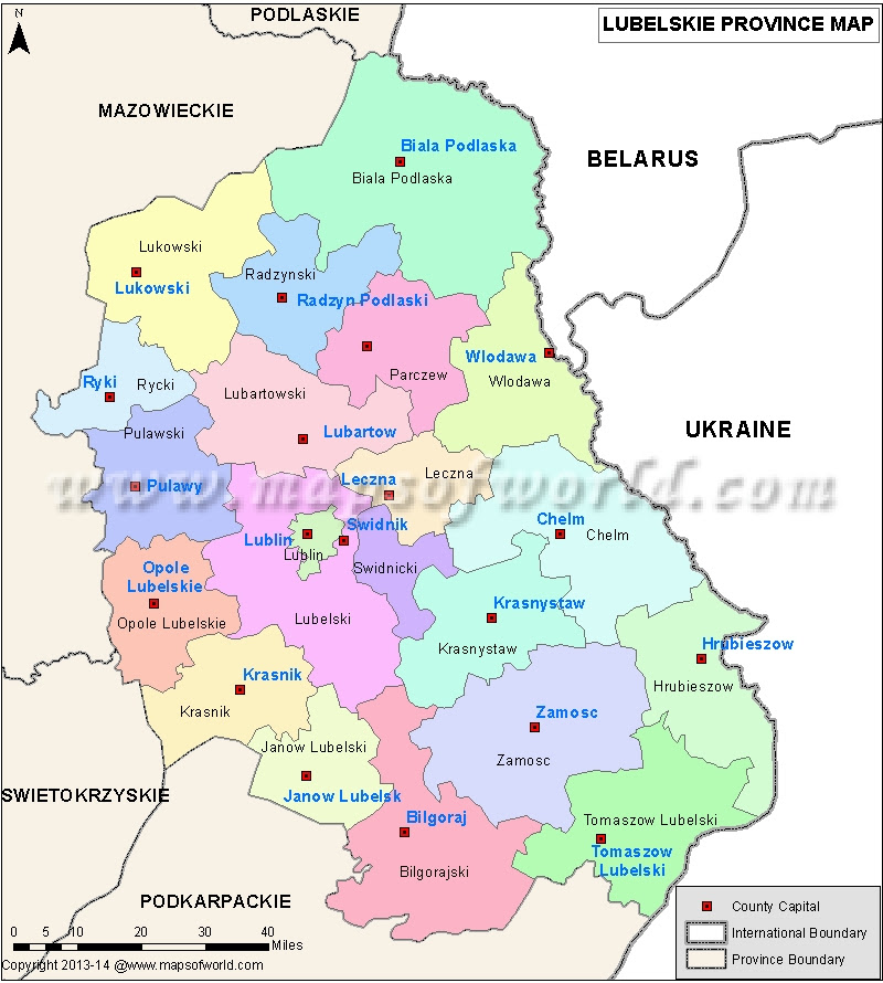 Map Of Lubelskie Voivodeshipin Polish Wojewodztwa Lublin