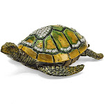 Bejeweled Sea Turtle w/Heart Trinket Box with Charm Pendant - BJ2007