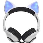 lx-x109 foldable fox ear headphones flashing led lights for pc laptop 3.5mm aux over-ear headset adjustable headband kids earphone