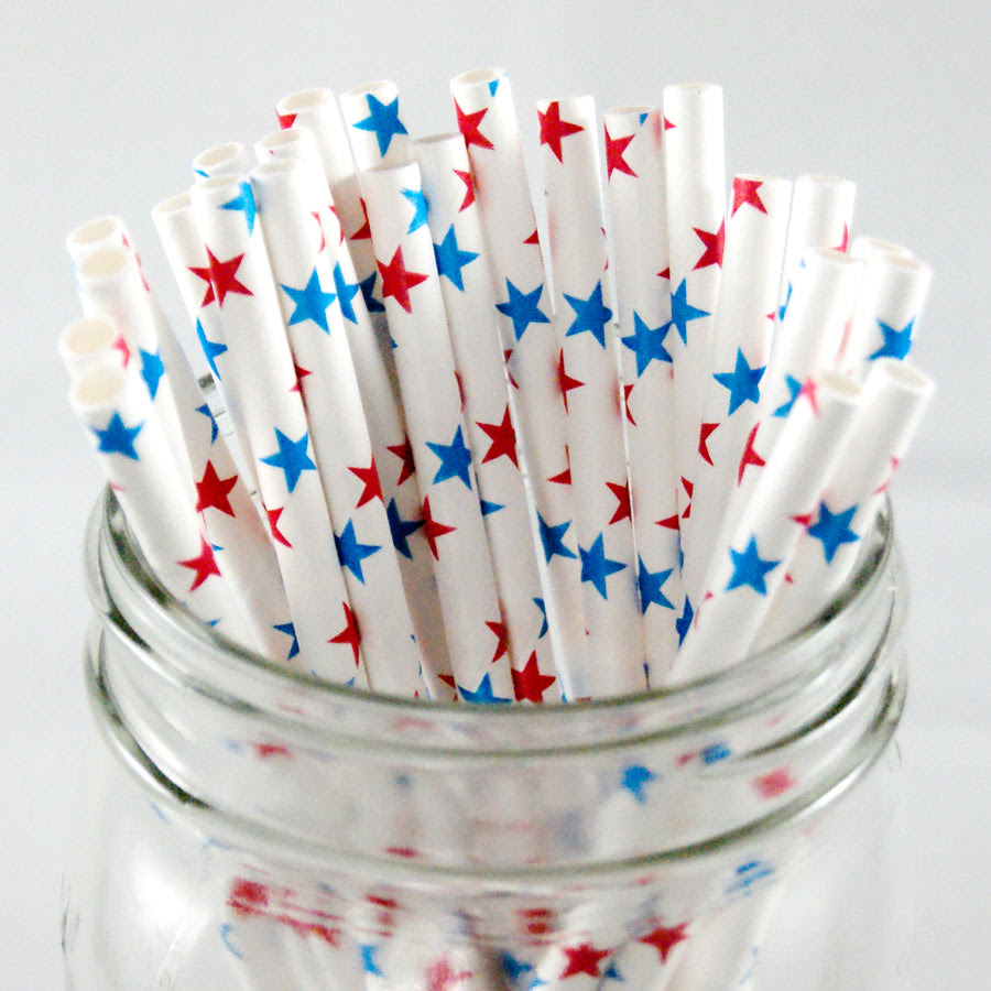 Star Paper Straws - Red White & Blue