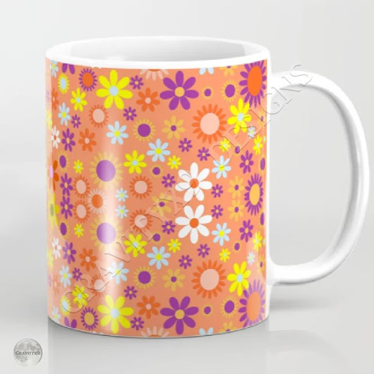 * Living Coral Colorful Floral Pattern Mug by #Gravityx9 at #Society6 * Available in three styles. * Custom coffee mugs * cust… | Flower / Floral Theme
