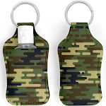 Camo Curvy Earthtones Hand Sanitizer Key Ring Holder with 30ml Bottle