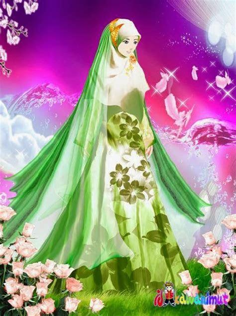gambar kartun cantik islami wanita berjilbab syari