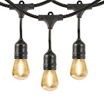 Feit Outdoor Weatherproof String Light Set 48ft 24 Light Sockets with 26 LED Bulbs